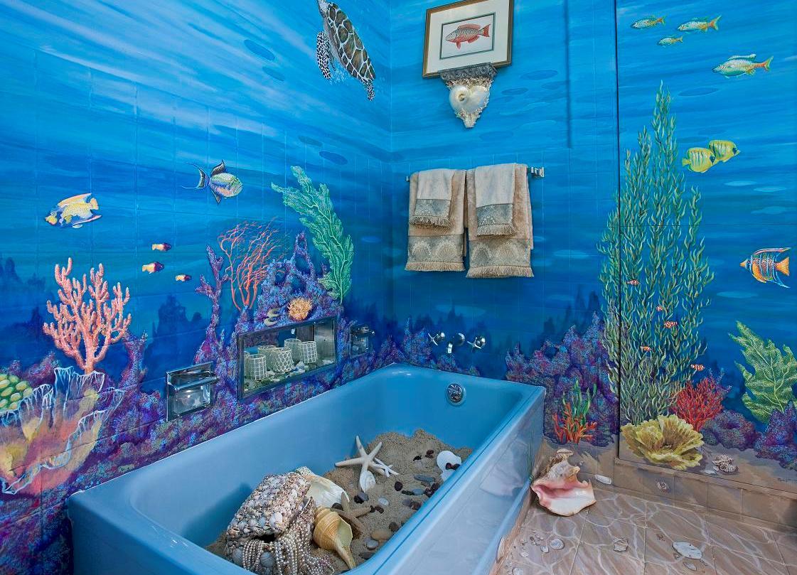 Фотоплитка в интерьере ванной комнаты